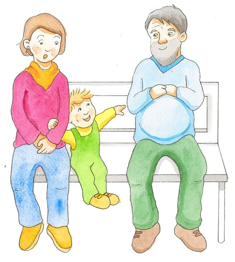 Piirros, jossa äiti ja lapsi istuvat puiston penkillä ja lapsi puhuu vieressä istuvalle sedälle. Äitiä hävettää.