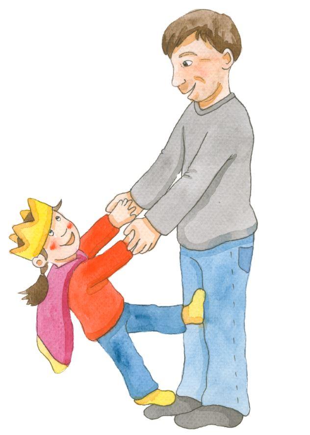Piirros, jossa isä ja tytär leikkivät keskenään.