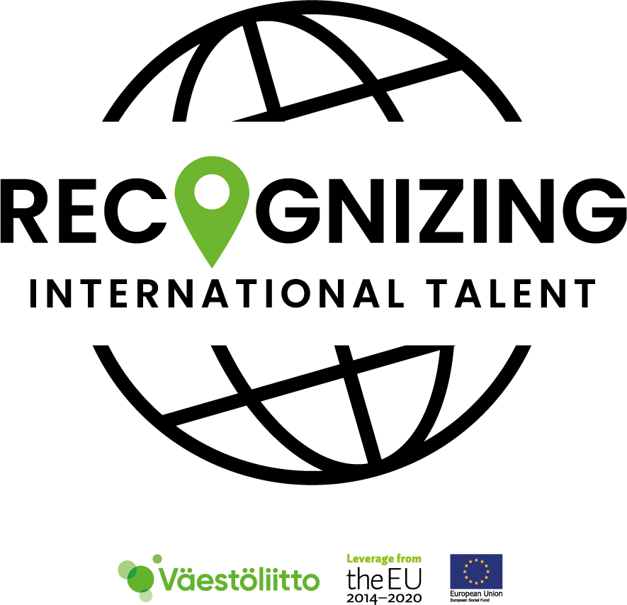 Väestöliiton Recognizing International Talent -merkki.