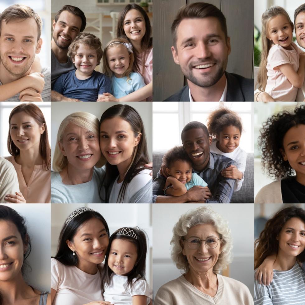 Kuvakooste, jossa erilaisia perheitä ja yksilöitä.