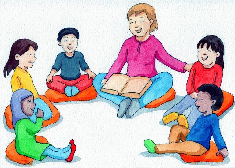Piirroskuva, jossa lapset istuvat piirissä lattialla ja mukana yksi aikuinen.