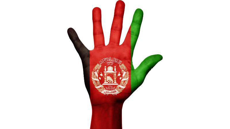 Kämmenen kuva, johon on maalattu Afganistanin lippu.